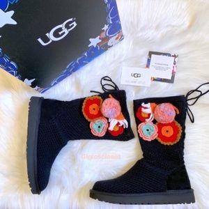 UGG Classic Floral Crochet Pom Pom Knit Boots